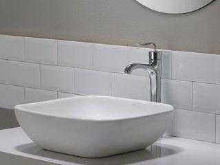 Kraus KCV 127 Modern Elavo Ceramic Soft Square Vessel Bathroom Sink  White