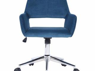 FurnitureR Velvet Fit up Office Chair  Ross Dark Blue