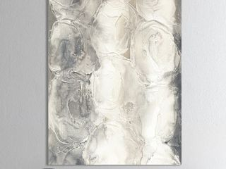 Designart  Gray Circles I  Modern   Contemporary Premium Canvas Wall Art