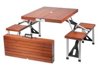leisure Season Portable Folding Picnic Table  Medium Brown
