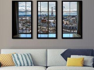 Paris Rooftops 8 Window  Framed Plexiglass Wall Art  Set of 3