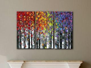 ArtWall Susanna Shaposhnikova s Birch  3 Piece Gallery Wrapped Canvas Set