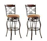 Acme Tavio Swivel Bar Chair  Set of 2  Saddle