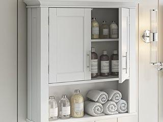 RiverRidge Somerset Collection 2 Door Bathroom Storage Wall Cabinet  White
