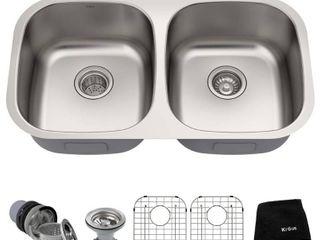 Kraus 32 inch Undermount 50 50 Double Bowl 16 gauge Stainless Steel Kitchen Sink