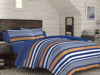IZOD Anderson Stripe Comforter Set  Blue  Full Queen