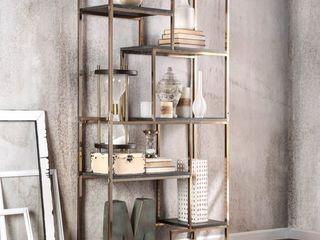 Furniture of America Nara Contemporary 6 Shelf Tiered Open Bookcase