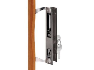 Prime line Products C 1032 Door Handle Set with Wood Pull and Key  Black Diecast