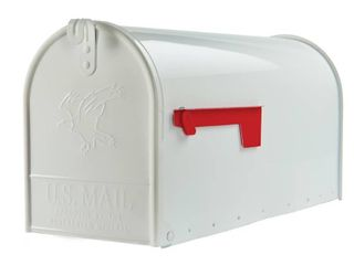 Gibraltar Mailboxes Elite large Galvanized Steel White Post Mount Mailbox  E1600W00