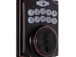 Defiant Castle Aged Bronze Single Cylinder Electronic Keypad Deadbolt