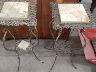 2  MARBlE TOP PlANTER STANDS