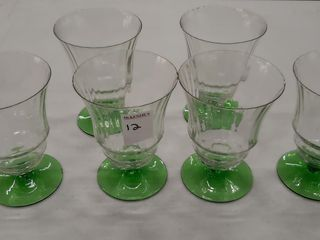 6  DEPRESSION GlASS GOBlETS