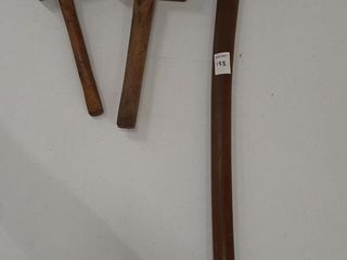 AXE AND  2  WOODEN MAllOTS