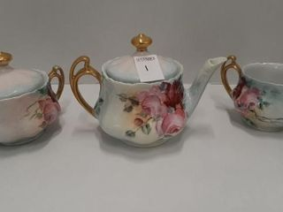 HANDPAINTED TEAPOT WITH CREAM AND SUGAR
