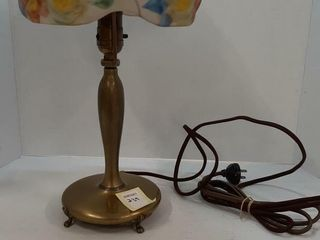 PAIRPOINT TABlE lAMP WITH HANDPAINTED 8  SHADE