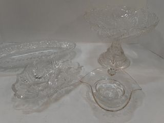 4  PIECES CRYSTAl DISHES