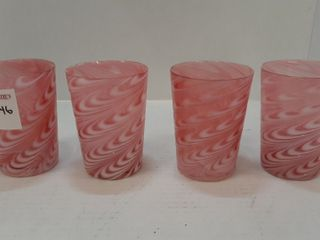4  CRANBERRY OPAlESCENT SWIRl PATTERN GlASSES