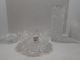 3  PIECES CRYSTAl   VASE  CANDY DISH  BOWl