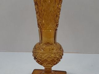 AMBER VASE   DIAMOND POINT PATTERN