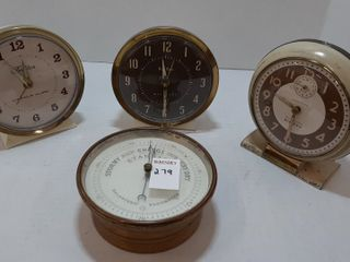 BAROMETER AND  3  ClOCKS