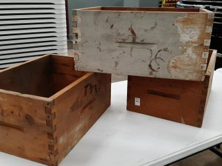 3  WOODEN DOVE TAIlED BOXES  NO BOTTOMS