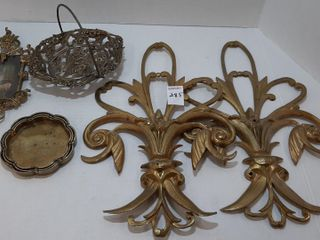 ASSORTMENT OF BRASS   COASTERS  BASKET  DECOR