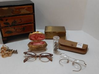 lOT   ORIENTAl CHEST  BRASS BOX  PAIR OF GlASSES