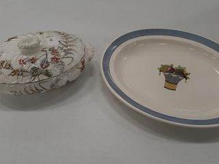 COVERED VEGETABlE DISH AND WEDGEWOOD PlATTER
