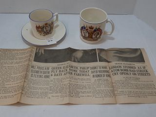 ROYAl COMMEMORATIVE CUPS AND NEWSPAPER ARTIClE