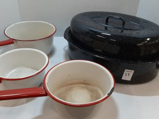 ROASTING PAN AND  3  PORCElAIN POTS