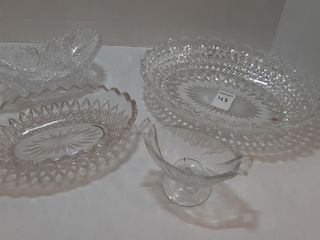 4  PIECES OF ASSORTED PRESSED GlASS