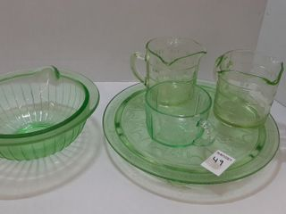 5  PIECES OF ASSORTED DEPRESSION GlASS
