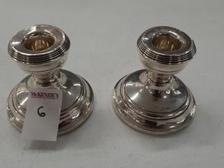 PAIR OF STERlING CANDlE STICK HOlDERS