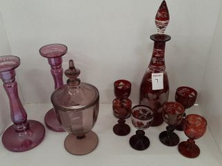 lOT   CANDlESTICK HOlDERS  DECANTER WITH ASSORTED
