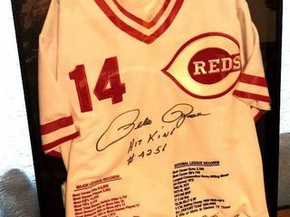 Pete Rose Reds Signed Jersey in Frame