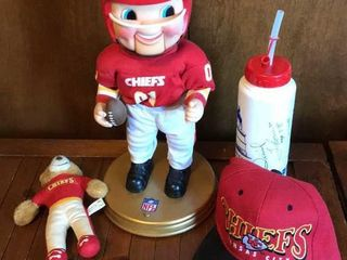 KC Chiefs Animated Doll  Signed Waterbottle  Hat