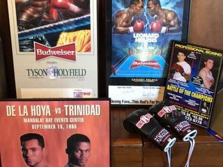 4  Framed Boxing Posters  Signed Gloves
