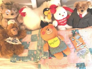 Vintage Baby Quilts  Stuffed Animals  Puppets