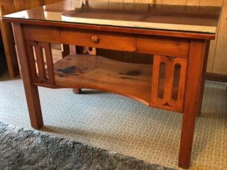 library Table with Glass Top  Front Drawer