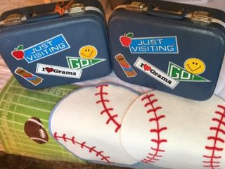 Pair of ChildrenIJs Suitcases  3 Sports Rugs