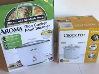 1 5 Qt Crockpot and Aroma Rice Cooker