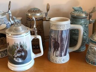 6  Wildlife Themed Collectible Steins