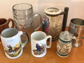 7  Collectible Steins  Norman Rockwell  Pewter
