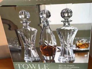 3 Towle Crystal Decanters  Pink Depression Ware