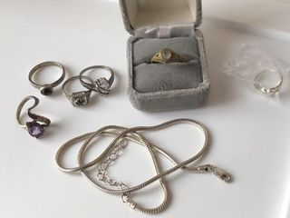 5  925 Silver Rings   1 Necklace  1 Vintage Ring