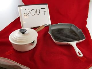 Creuset   grill and covered saucepan