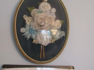 Framed floral pair with convex glass