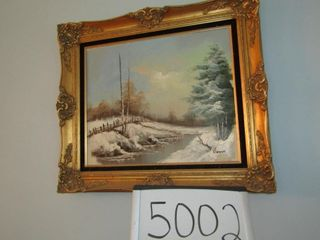 Oil on Canvas framed signed G  Brown
