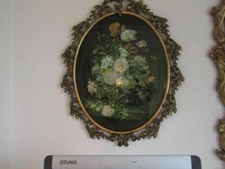 Pair of framed floral prints  metal frame  16  x