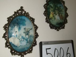 Pair of convex framed prints 9 5  x 6 5
